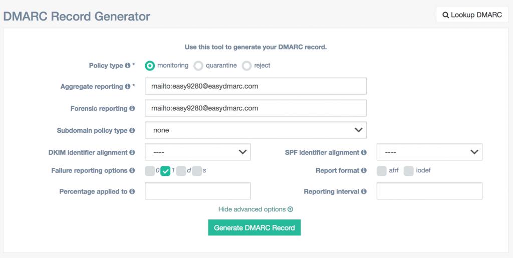 free DMARC record generator