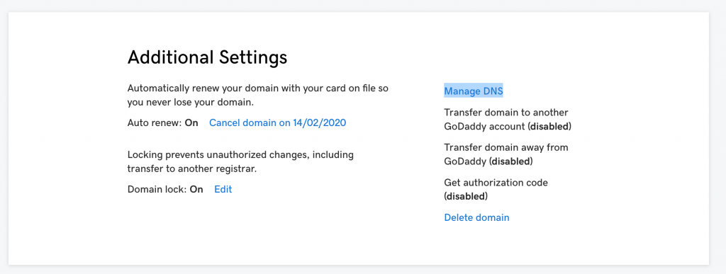 Manage-DNS-option-in-GoDaddy