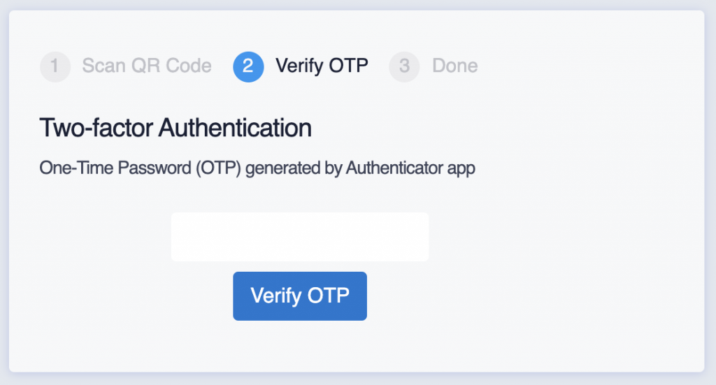 verify one-time password screen