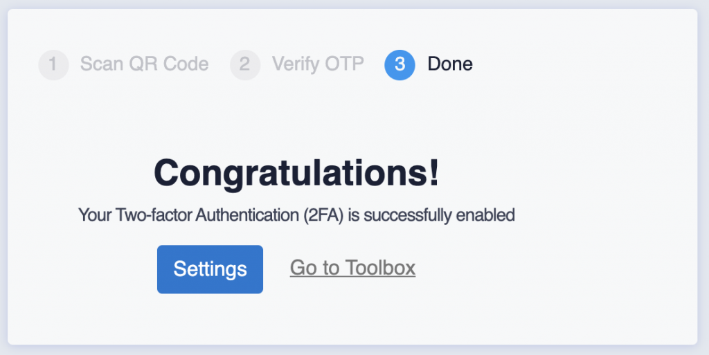 final screen of two-factor authentication