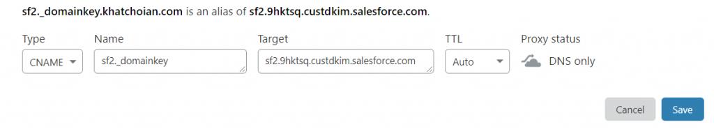 Salesforce_DKIM_CNAME_CloudFlare_DNS