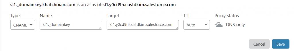 Salesforce-DKIM-CNAME-CloudFlare-DNS