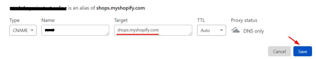 Cloudflare CNAME Setup Shopify