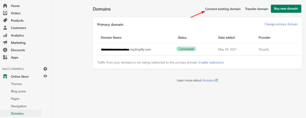Shopify Setting up Domain