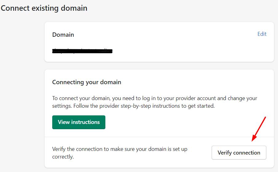 Shopify Verify Connection button