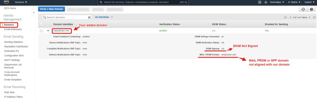 AmazonSES portal