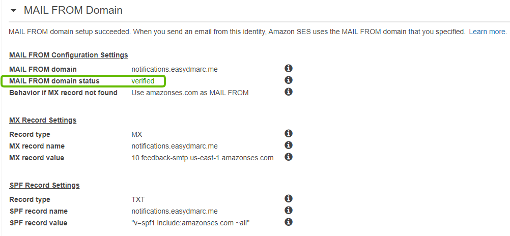 mail from domain verified amazonSES