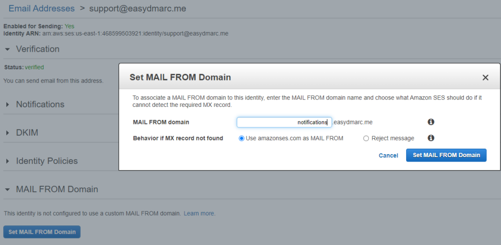 manually update MAIL FROM Domain amazonSES