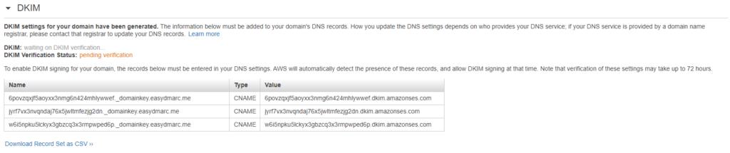 AmazonSES Generate DKIM Settings