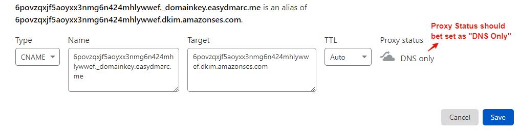 amazonSES CNAME Records for DKIM Settings