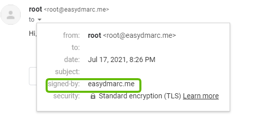 Send a Test email and confirm DKIM is working